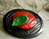 Vintage Button Brooch, Red Apple Vintage Button Jewelry
