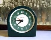 Vintage Art Deco Green Ingersoll Alarm Clock, by U.S. Time Corporation