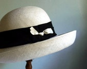 Vintage Hat White Straw Hat Wide Brimmed / Etsy Black Friday, Etsy Cyber Monday