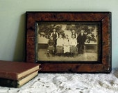 Antique Sepia Tone Photograph of Children in Distressed Wooden Frame