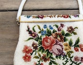 Reserved for Loli -- Vintage Purse Beaded Evening Bag with Petit Point and Floral Design