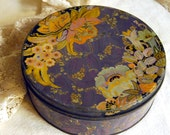 Vintage Purple and Orange Tin Candy Box