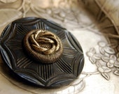 Vintage Button Brooch Sailor's Knot Black Silver Eco Friendly Jewelry
