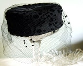 Vintage Hat Black Chenille Circle Pillbox Hat with Veil