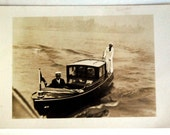 Vintage Postcard Real Photo, Sailor on a Boat Nautical Ephemera