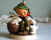 Vintage Figurine Hummel Playmates Boy with Rabbits, TMK 3, 1960-1972