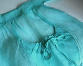 Vintage Mint Green or Aqua Half Apron in Organza with Lace