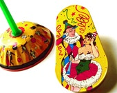 Vintage Toy Noisemakers 1950s Tin Litho Set of Two Noise Makers Yellow