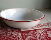Vintage Bowl Red and White Enamelware Bowl or Basin