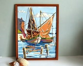 Reserved for RFoester -- Vintage Sail Boats Paint by Number Picture in Wood Frame