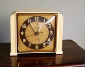 Vintage Alarm Clock Art Deco Telechron Telalarm 7H91 1940s