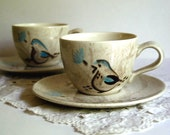 Vintage Cup and Saucer Red Wing Bob White Quail Bird, Set of Two Mugs
