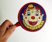Vintage Noisemaker Kirchhof Tin Clown Toy, LIfe of the Party