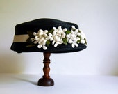 Vintage Hat Black Straw Cloche with Flowers