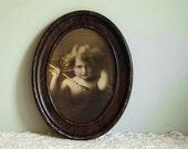 Vintage Antique Photo Print, Cupid Awake by M.B. Parkinson, Art in Metal Frame