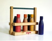 Vintage Toy 1950s Holgate Wooden Cola Carrier with Bottles / Etsy Black Friday, Etsy Cyber Monday