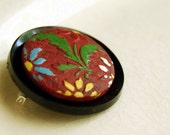 Vintage Button Brooch Brick Red Burgundy Bouquet Wood Button Jewelry - CalloohCallay