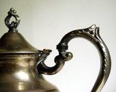 Vintage Silver Plate Teapot, Edwardian Holloware Coffee Pot Cottage Chic Decor Sheffield England Garden Party