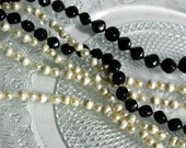 Vintage Necklaces Black and White Plastic Beads Faux Pearls Costume Jewelry