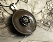Dark Secret Vintage Button Necklace, Recycled Vintage Button Jewelry Gray Black - CalloohCallay