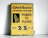 Vintage Metal Sign Calvert Reserves Perpetual Calendar 1950s Whiskey Advertising Sign