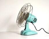 Vintage Fan Art Deco Eskimo 081002 Desk Fan or Hanging Fan Turquoise McGraw-Edison