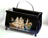 Vintage Magazine Rack Paint By Number Metal Tole Painting Black Holder 1950s Tole Craft Nautical
