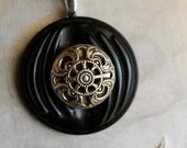 Vintage Button Necklace Silver Twinkle Filigree Button Jewelry