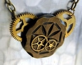 On Sale -- Steampunk Jewelry Time after Time Vintage Button Necklace