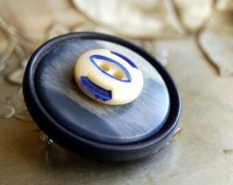 Vintage Button Brooch China Blue Denim Pin Eco Friendly Jewelry Repurposed Winter Fashion Women Accessories China Stencil