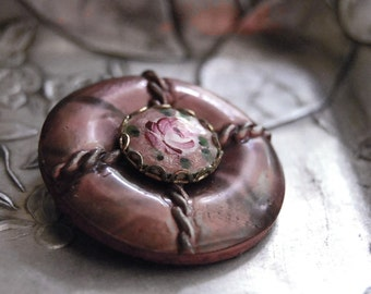 Vintage Button Brooch Plum Rose Eco Friendly Jewelry Purple Flower Lavender Accessories Cottage Chic Romantic Pin Winter Fashion