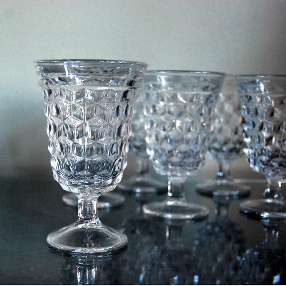 Six Vintage Glasses Fostoria American Clear Water Goblets Glassware