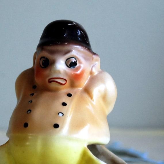Vintage Figurine Ceramic Match Holder Czechoslovakia Policeman