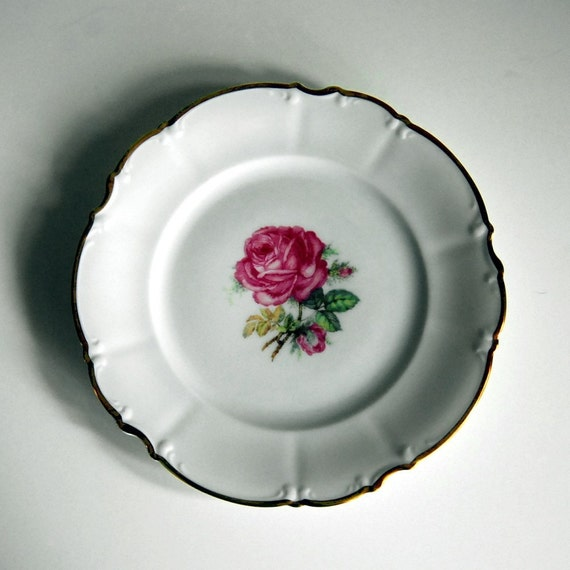 Vintage Plate China Salad Plate, Hutschenreuther Dundee Rose China