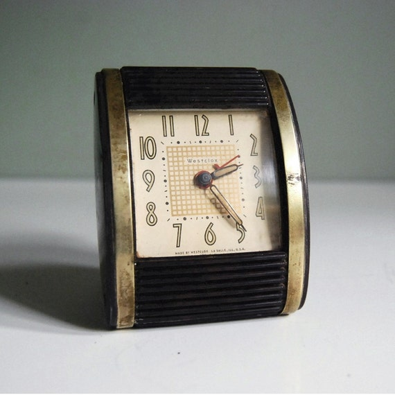 Vintage art deco travel alarm clock by westclox still works Art deco alarm clocks