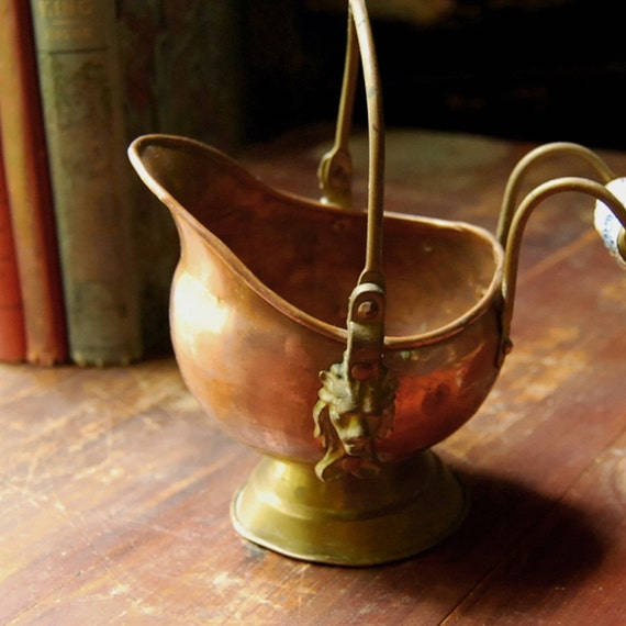 Vintage Copper Pot With Ceramic Handle Made In Holland