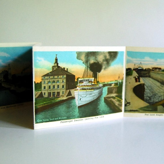 Vintage Postcard 1932 Curt Teich Folder, Sault Ste. Marie, Michigan
