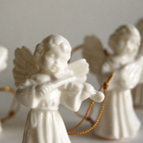 Christmas Ornament Angels From Office Supplies: Vintage Angels Porcelain Christmas Angel Ornaments From Gift