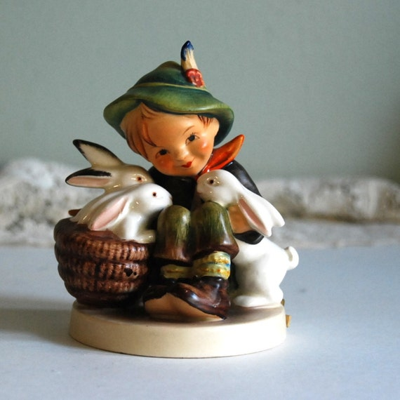 Vintage Figurine Hummel Playmates Boy With Rabbits Tmk 3