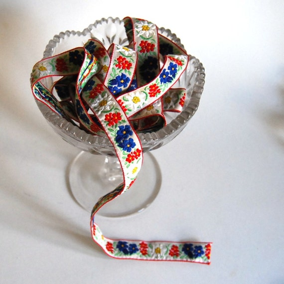 Vintage Trim Red and Blue Embroidered Woven Trim (2 yards)