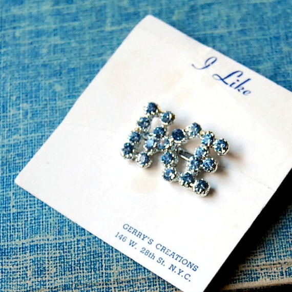 1950s Vintage Brooch Gerrys I Like Ike Political Pin Blue Rhinestone Brooch