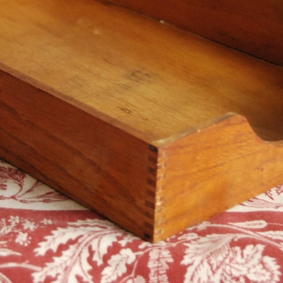 Vintage Box Oak Desk File Organizer, In Box, Tray