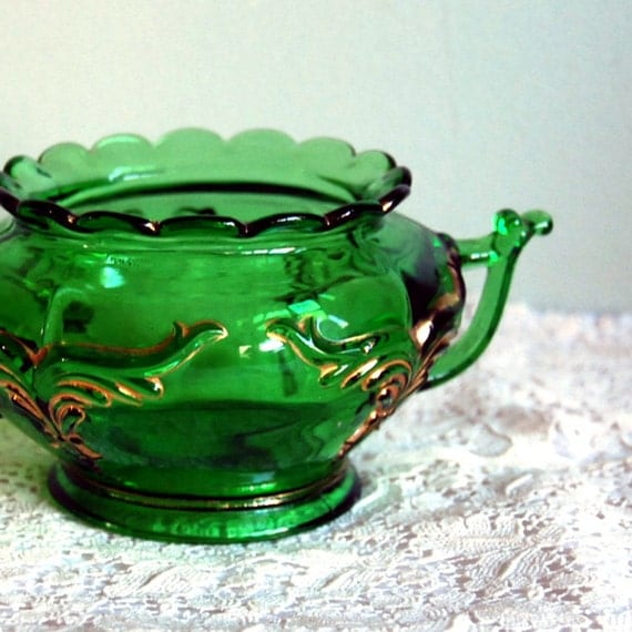 Antique Spooner Glass Bowl, Heisey Winged Scroll Emerald Green Victorian