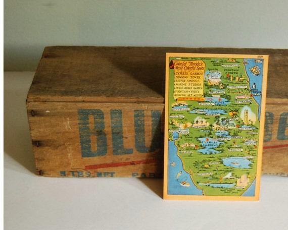 Vintage Postcard Florida Map 1930s-1940s Tichnor Card