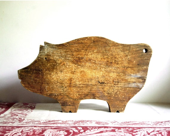 Vintage Cutting Board Wood Pig Country Farmhouse Tray