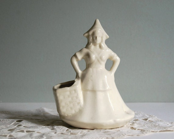 Vintage Planter Dutch Girl Ceramic Planter with Matte White Glaze