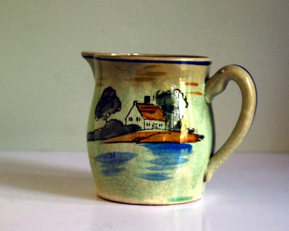 Vintage Pitcher Green Japanese 1920s Handpainted Cottage Chic