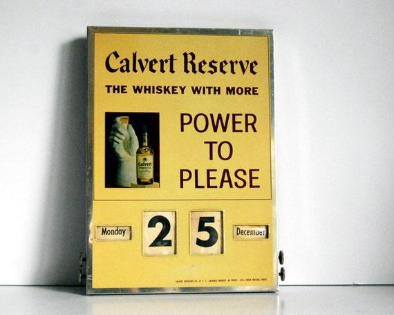 Vintage Metal Sign Calvert Reserves Perpetual Calendar 1950s Whiskey Advertising Sign