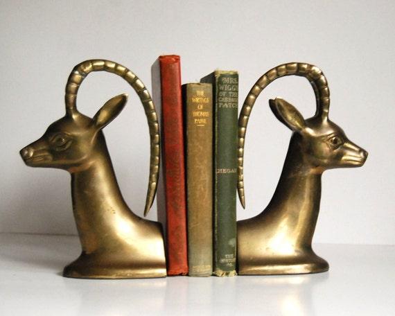 Vintage bookends gazelle or deer brass bookends - Antique brass bookends ...
