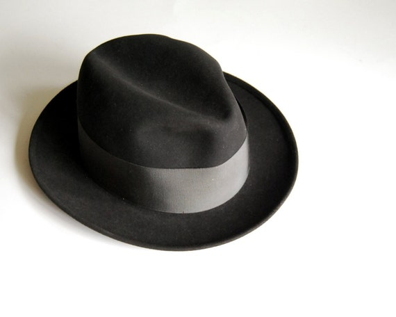 Vintage Mens Fedora Hat Wool Dobbs Black Mad Men Hat Size 6 3/4